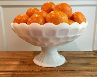 Vintage Milk Glass Fruit Bowl /  Thumbprint Pattern Bowl / White Pedestal Bowl / Farmhouse Decor / Country Kitchen / White Serving Dish