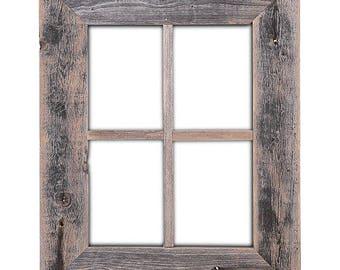 "Wood Window Frame 22"" x 18"" Rustic Reclaimed Distressed Barn"