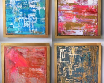 Abstract Art, Abstract on Canvas, Textured Art, pink, blue