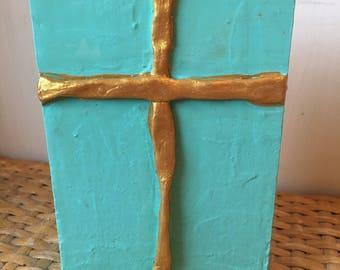 Aqua Cross Decor, Cross Art, Cross Painting