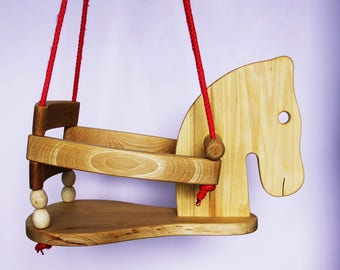 Toddler Wooden Swing - Cute Horse Figure Safety Seat - High Quality Natural Wood Swing For Nursery Or Outdoors Garden