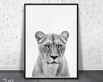 Lioness Print, Lion Wall Art, Safari Nursery Decor, Black And White, Nursery Animal Print, Large Printable Poster, Digital Instant Download