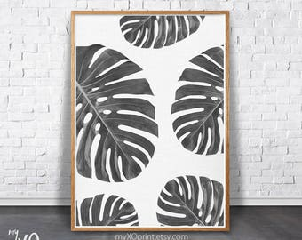 Plant Wall Art, Tropical Leaf Print, Printable Art, Black and White Art, Wall Art, Modern Wall Decor, Tropical Plant, Leaves Art, Monstera