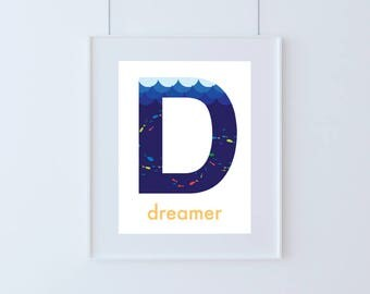 Letter D for Dreamer Kids Art Printable