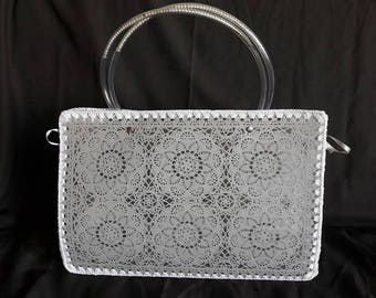 Beach bag or city style doily grey taupe
