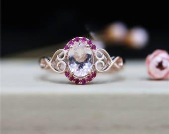 Pave Rubies Ring Morganite Engagement Ring 6*8mm Oval Cut Morganite Ring 14K Rose Gold Ring Anniversary Ring Wedding Gift Promise Ring