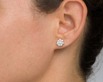 FREE SHIPPING - Pave floral studs, Organic cubic zirconia earrings, Silver flower earrings handmade, Unique push back earrings