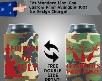 Fourth of July Celebrates Independence Custom Cooler Collapsible Fabric Can Cooler Double Side Print (FourthofJuly19)