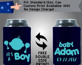 It's a Boy! Baby Name Date Baby Gender Reveal Collapsible Neoprene Baby Shower Cooler Double Side Print (BS83)