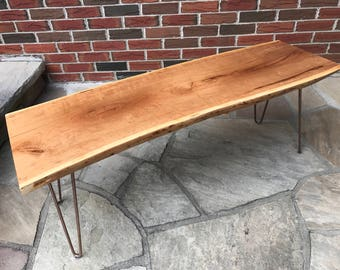 Black Cherry Live Edge Coffee Table or Bench on Rose Gold Hairpin Legs