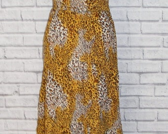 Size 10 vintage 70s style shirred waist sleeveless dress leopard print (HR62)