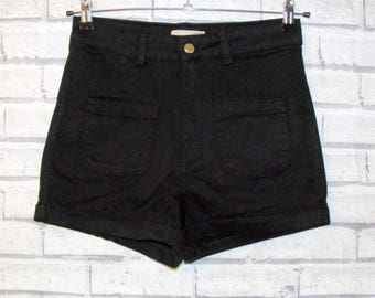 Size 12 vintage 70s style extra high waist turnup hem hotpant shorts black denim