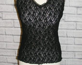 Size 10 vintage 90s v-neck fitted vest top stretchy sheer black lace (HX75)