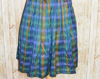 Size 6 vintage 80s midi gathered high waist skirt silky blue/green check (HK54)