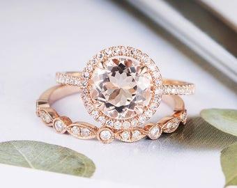 Rose Gold Engagement Ring Round Cut Morganite Art Deco Diamond Halo Half Eternity Bridal Set Wedding