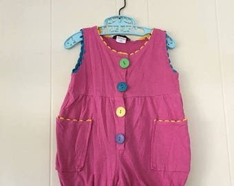 20% off -- 1990's playclothes pink bubble romper with ric rac trim - size 24 months / 2t
