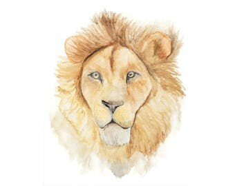 Lion Art, Lion Painting, Lion Watercolor, Cat Wall Art, Lion Wall Art, Cat Painting, Wild Cats, Watercolor Cat, Lion Nursery, Big Cat Art