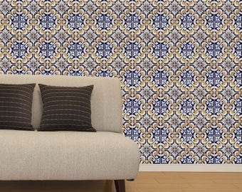 traditional mexican talavera ceramic sticker wall tiles blue white yellow backsplash temporary decals removable