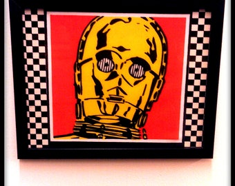 Limited Stock - Star Wars,C-3PO, Pop Art, Collage, Wall Art, Picture - Fabric with checkered detail.