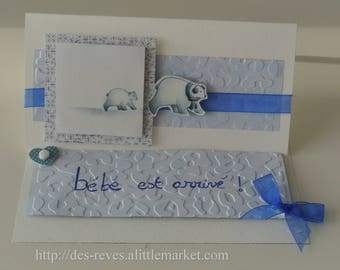 Birth card - baby has arrived! -Little white bear