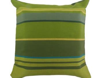 Pillowcase of happy stripes - fair trade cotton, 50x50cm, shades of green