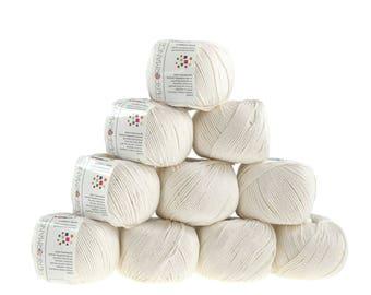 10 x 50g knitted yarn cotton gem #502 Cream