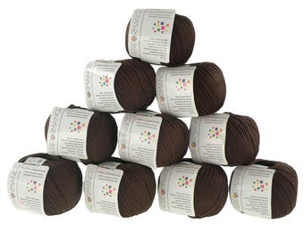 10 x 50 g knitting wool cotton glamorous #227 Brown