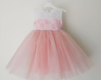 Blush pink flower girl dress, tulle dress, princess dress, white lace dress, birthday, wedding, non-sleeve dress, gift, present