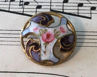 Antique French Art Nouveau Enamel Button Flower c1920