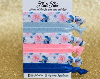 Pink & Blue Floral Collection | Hair Ties - Hair Elastics - Spring Floral - Ponytail Holders