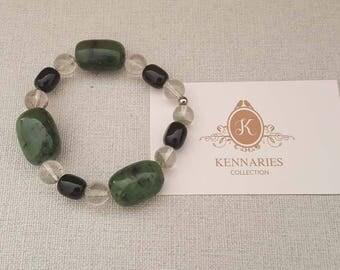 Natural Green Phantom Quartz , Lace Onyx And MAW-SIT-SIT Beads Bracelet, Gemstones Bracelet (BEADJ1095)