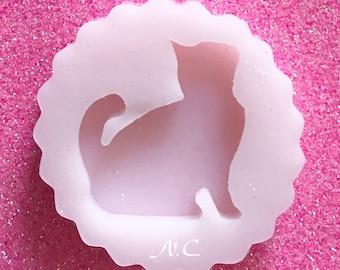 Flexible silicone mold cabochon Kitten