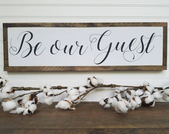 Be Our Guest - Stay Awhile Wood Sign - Farmhouse Style - Wall Decor