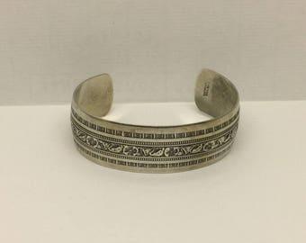 DANECRAFT Sterling silver tulips engraved cuff bracelet #429