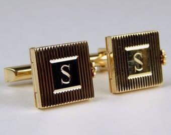 Vintage  14k yellow gold locket cufflinks #10418