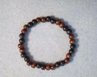 "Men's 8 1/2"" Black / Brown Wooden Beaded Bracelet, Stretch Cord"