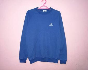 Rare!! Vintage Adidas Trefoil Small Logo Spellout Embroidery Pullover Jumper Sweatshirt