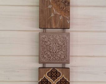 Indian decor, Moroccan Art, free postage, mandala, bohemian pictures, browns and golds, mixed media.
