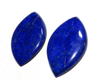 RARE~ 100% Natural Smooth Lapis Lazuli Marquise shape Cabochons 52X31mm  Approx Top Quality On Whole Sale Price.{LP-25}
