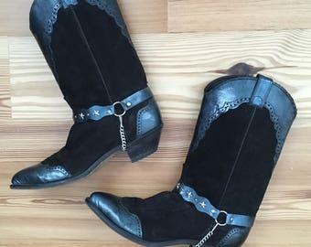 Black Biker Motorcycle Boots Vintage 80's Chain Detail Ladies Size 8 9