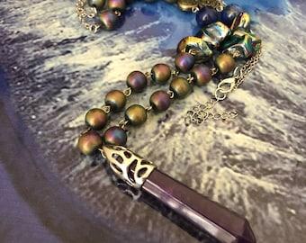 Beaded Amethyst Necklace with Titanium Rainbow Quartz!
