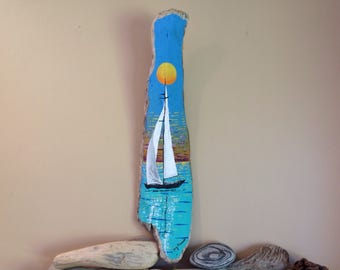 original,hand painted,sail boat,nautical,sunset,painting on driftwood,driftwood,painting of sailboat,cottage decor,acrylic painting