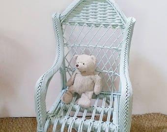 Rattan children Chair revamped vintage
