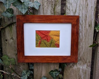 ACEO original framed needle felted art unique 'Autumn Leaves' nature environment