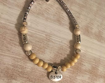 SISTER neutral beaded bracelet