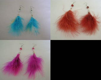 to choose pair of dangle earrings, feather