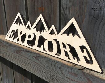 Explore, Mountain Range, Wood, Sign, Rocky Mountains, Baltic Birch, Laser, Cut Out, Wall Decor, Home Decor, Adventure