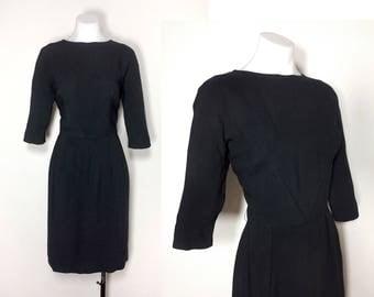M/8-10 | Wilshire of Boston 50s black dress, vintage 50s black rayon wiggle dress 60s black rayon dress Audrey Hepburn little black dress