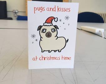 Pugs and Kisses - Christmas Card