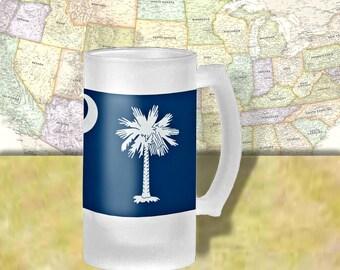 South Carolina State Flag Beer Mug, Beer Stein, State Flag, State Pride, Beer Glass, 16 oz., Frosted Mug, Beer Thinkers, Beer Lover, Beer